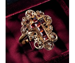 Dolce Gabbana Baroque Collection Red Cross Ring