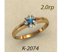 Кольцо с топазом и бриллиантами 2074