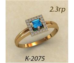 Кольцо с топазом и бриллиантами 2075