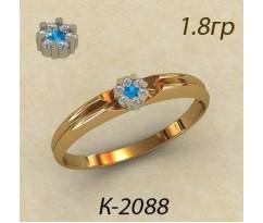 Кольцо с топазом и бриллиантами 2088