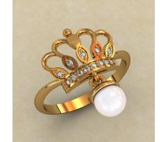 Женское кольцо уникальное артикул: 10198 Корона с жемчугом