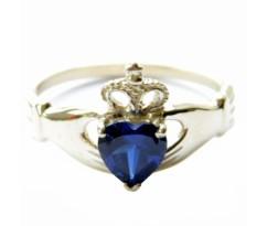Кладдахское кольцо blue heart celtic white