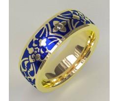 AS1 Кольцо с эмалью и бриллиантом