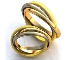 Эксклюзивные парные обручалки, ручная работа art: AU013 Trinity Ring