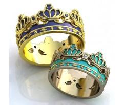 Кольца на свадьбу парные art: AU030 Короны