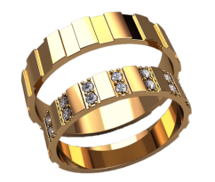 Парные оручальные кольца, ручная работа артикул: 2589 - пара