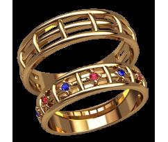 Парные оручальные кольца, ручная работа артикул: 2595 - пара