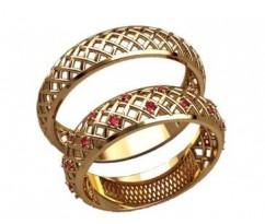 Парные оручальные кольца, ручная работа артикул: 20016 - пара